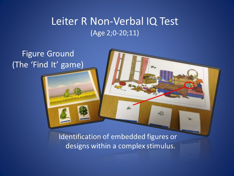 Leiter R Non-Verbal IQ Test (Age 2;0-20;11) Identification of embedded figures or designs within a complex stimulus.