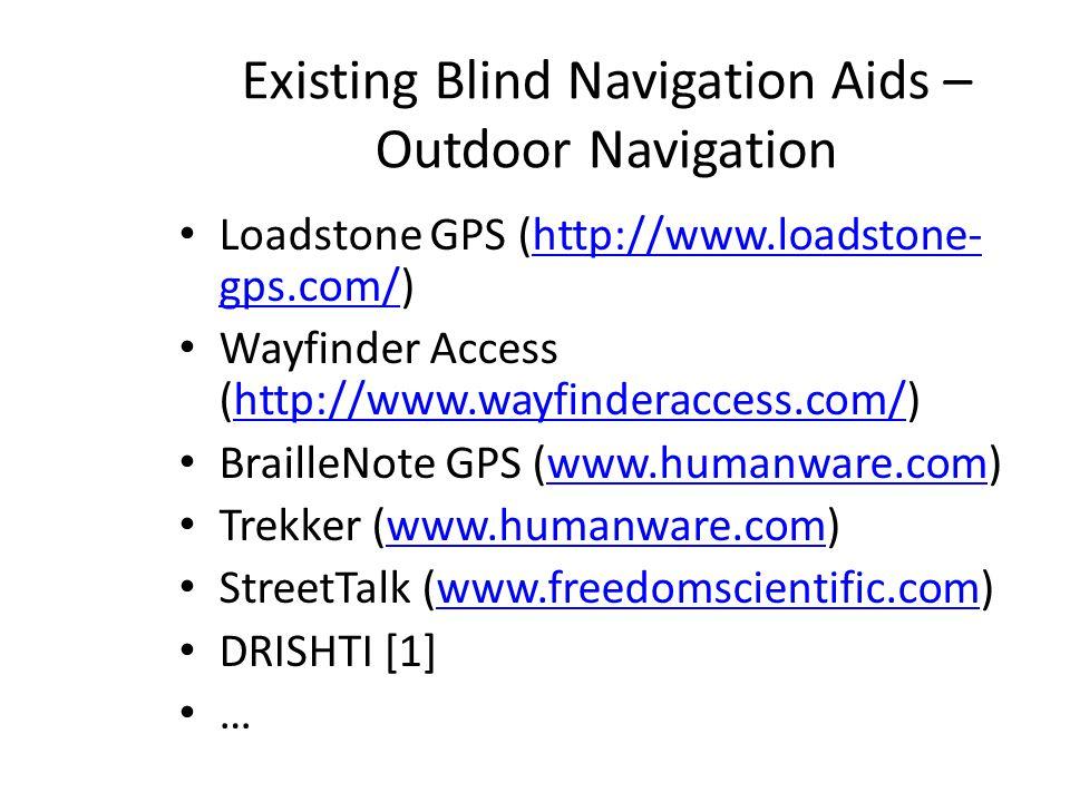 Existing Blind Navigation Aids – Outdoor Navigation Loadstone GPS (http://www.loadstone- gps.com/)http://www.loadstone- gps.com/ Wayfinder Access (htt