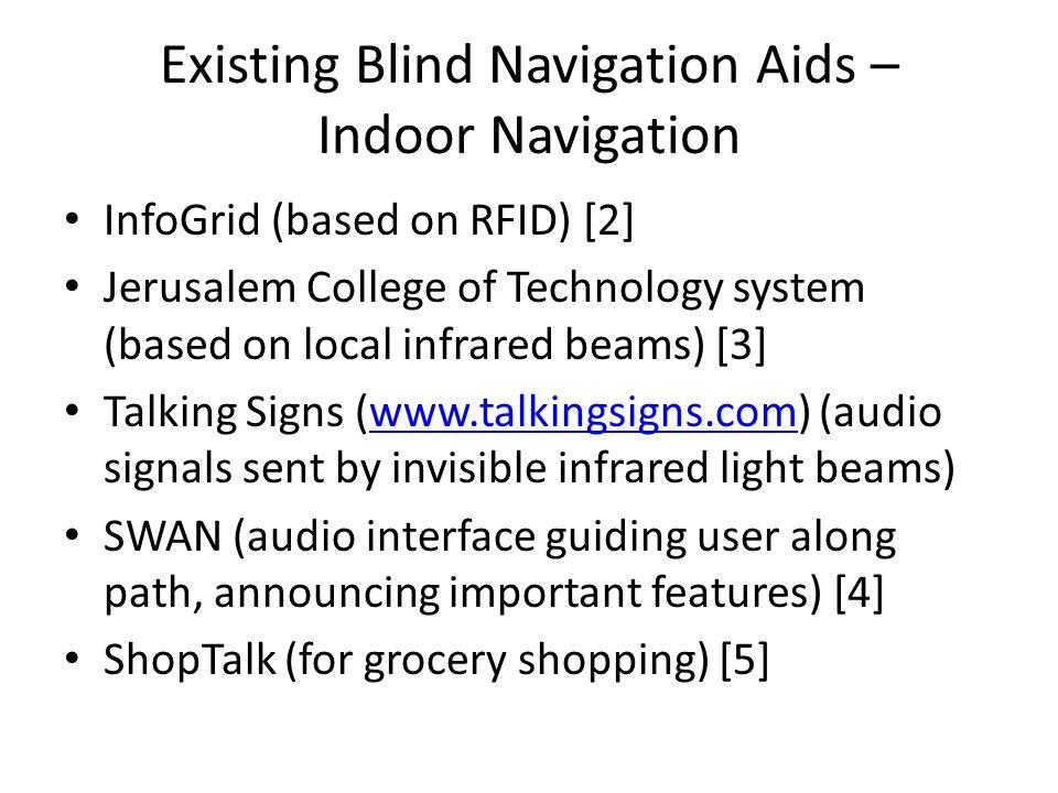 Existing Blind Navigation Aids – Indoor Navigation InfoGrid (based on RFID) [2] Jerusalem College of Technology system (based on local infrared beams)