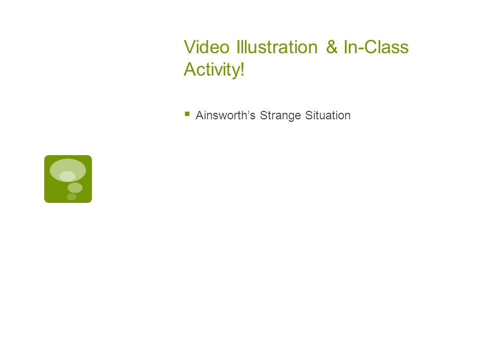 Video Illustration & In-Class Activity!  Ainsworth's Strange Situation
