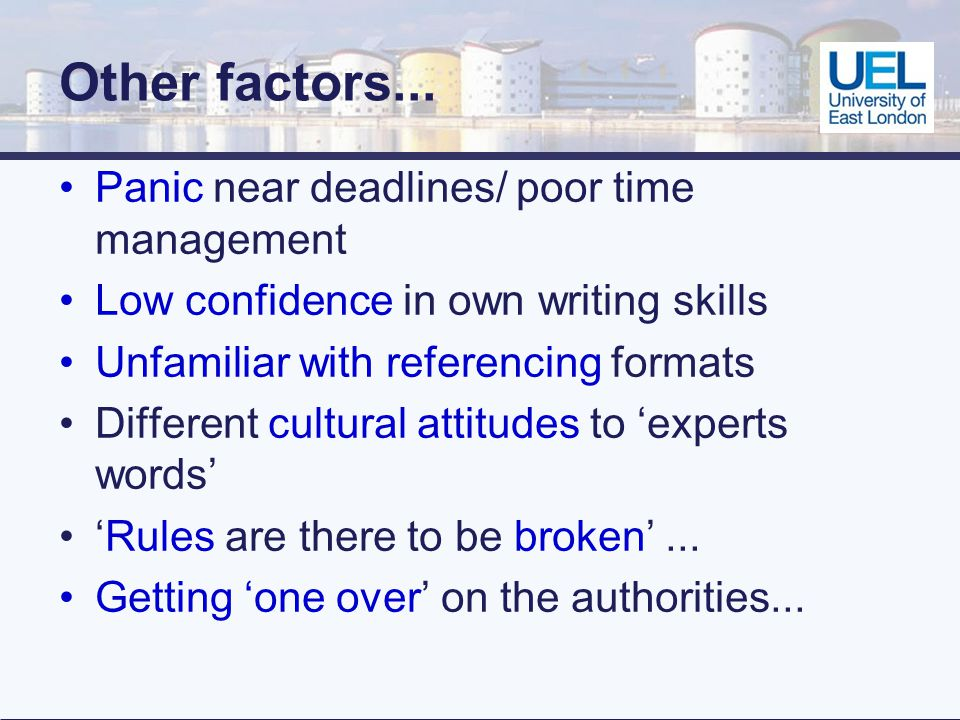 Other factors...