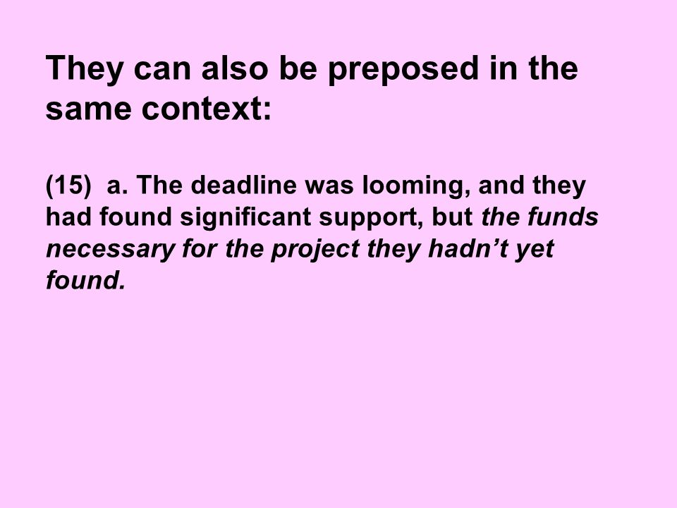 They can also be preposed in the same context: (15) a.