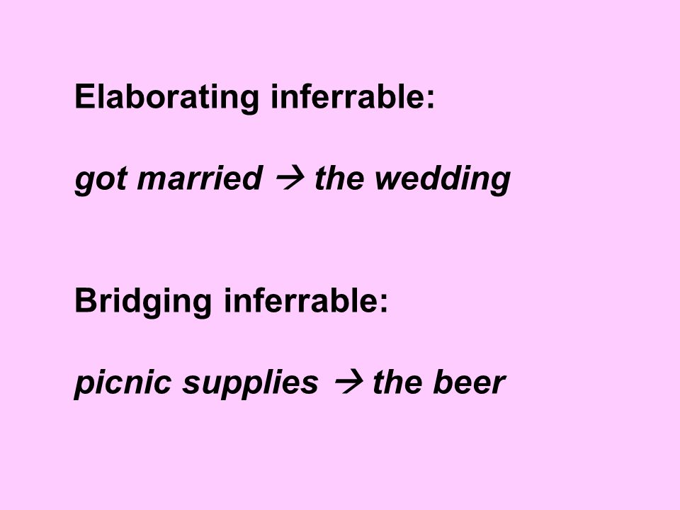 Elaborating inferrable: got married  the wedding Bridging inferrable: picnic supplies  the beer