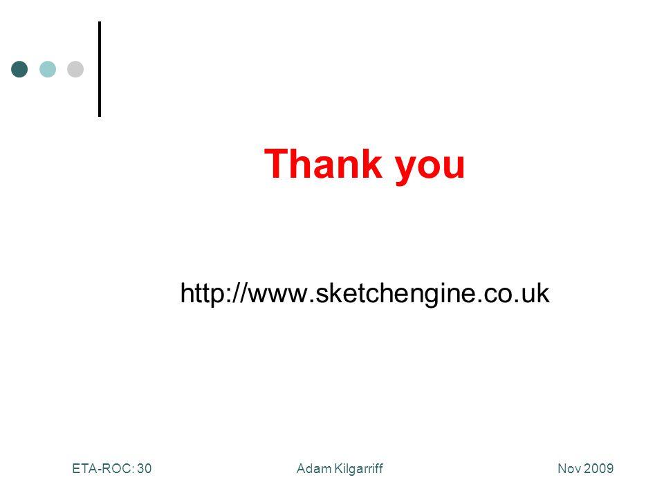Nov 2009Adam KilgarriffETA-ROC: 30 Thank you http://www.sketchengine.co.uk