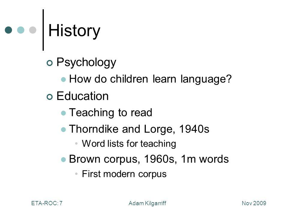 Nov 2009Adam KilgarriffETA-ROC: 7 History Psychology How do children learn language.