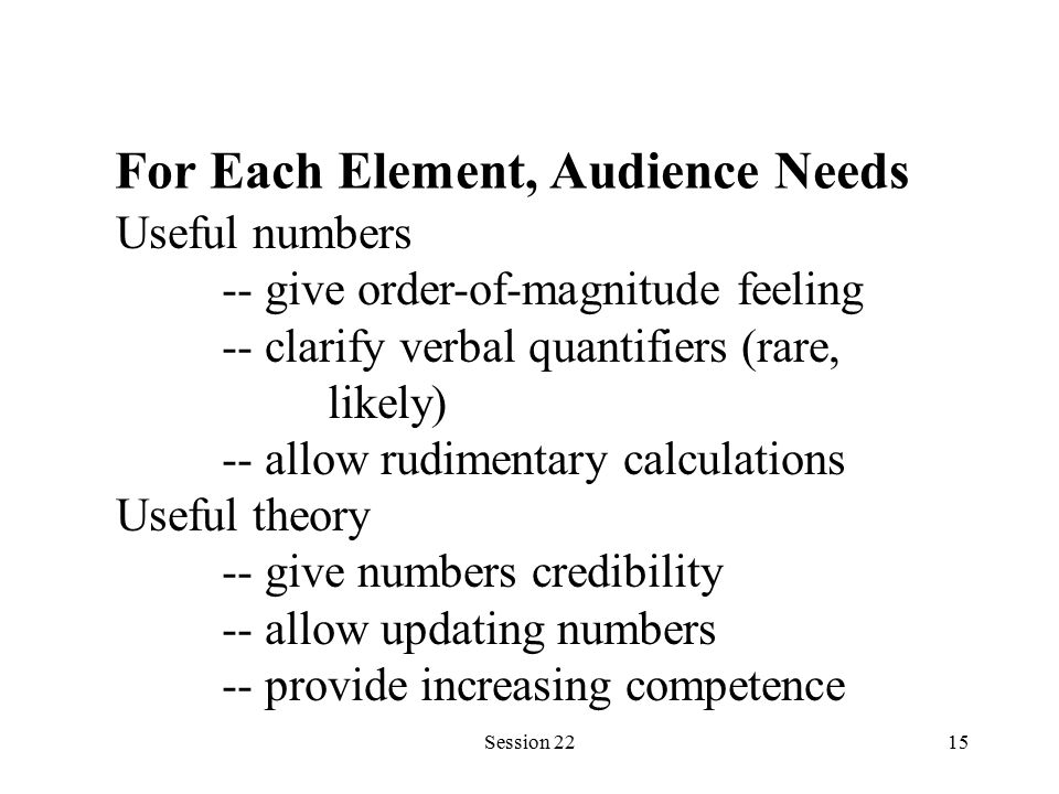 Session 2215 For Each Element, Audience Needs Useful numbers -- give order-of-magnitude feeling -- clarify verbal quantifiers (rare, likely) -- allow rudimentary calculations Useful theory -- give numbers credibility -- allow updating numbers -- provide increasing competence