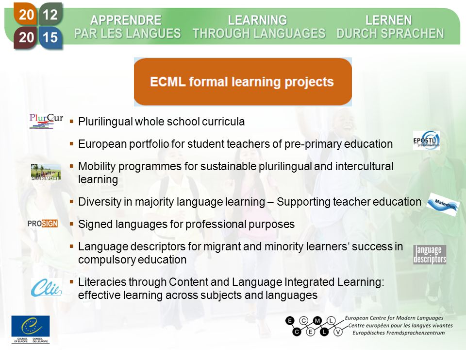  Plurilingual whole school curricula  European portfolio for student teachers of pre-primary education  Mobility programmes for sustainable plurilingual and intercultural learning  Diversity in majority language learning – Supporting teacher education  Signed languages for professional purposes  Language descriptors for migrant and minority learners' success in compulsory education  Literacies through Content and Language Integrated Learning: effective learning across subjects and languages