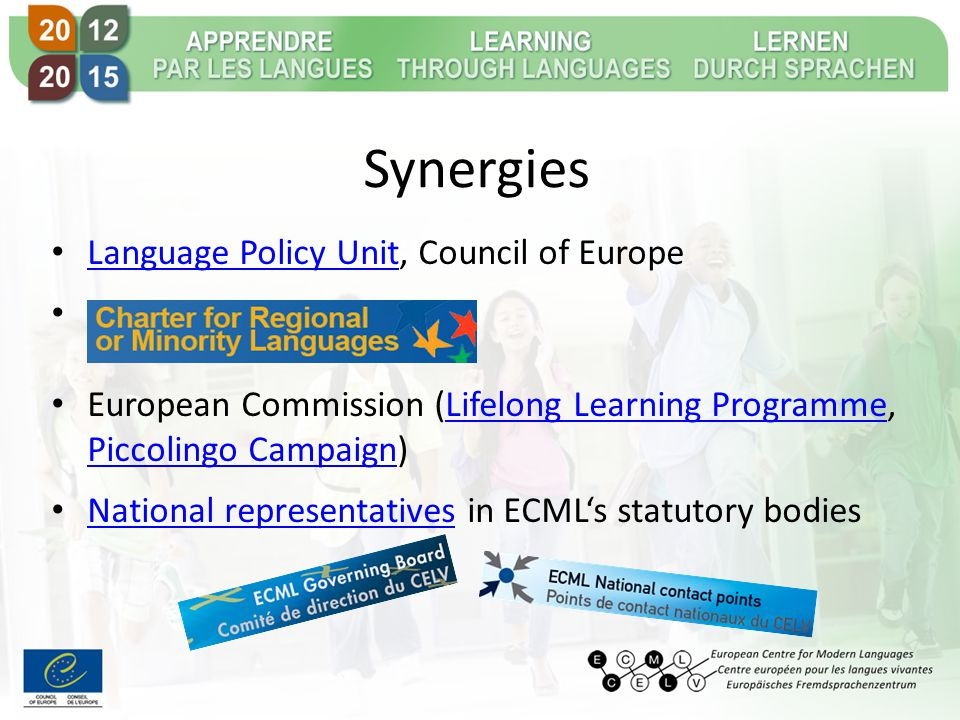 Synergies Language Policy Unit, Council of Europe Language Policy Unit : European Commission (Lifelong Learning Programme, Piccolingo Campaign)Lifelong Learning Programme Piccolingo Campaign National representatives in ECML's statutory bodies National representatives