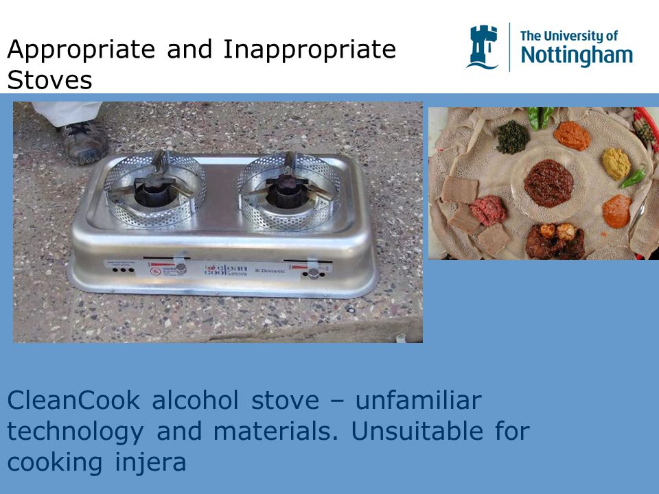 CleanCook alcohol stove – unfamiliar technology and materials. Unsuitable for cooking injera Appropriate and Inappropriate Stoves