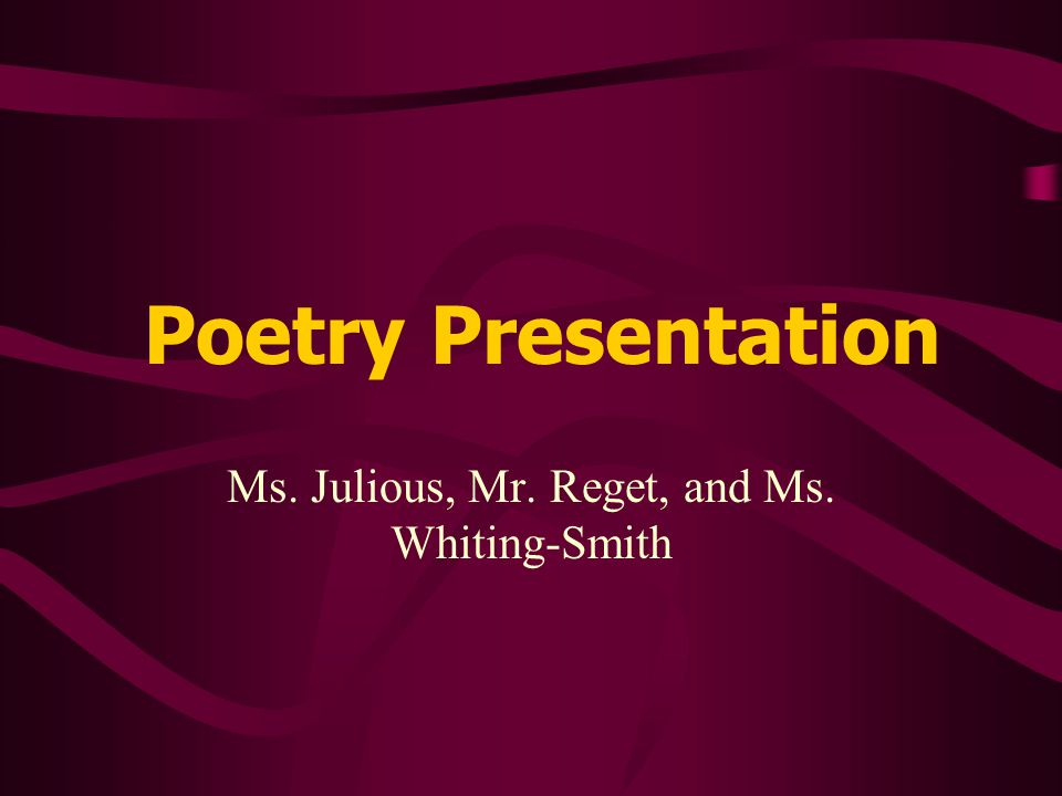 Objectives Familiarize and expose students to a wide variety of African-American poets To develop and diversify strategies for reading and responding to poetry and its elements To analyze a poem using strategies learned