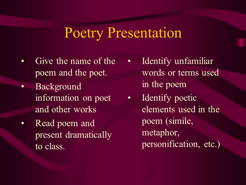 Poetry Presentation Give the name of the poem and the poet.