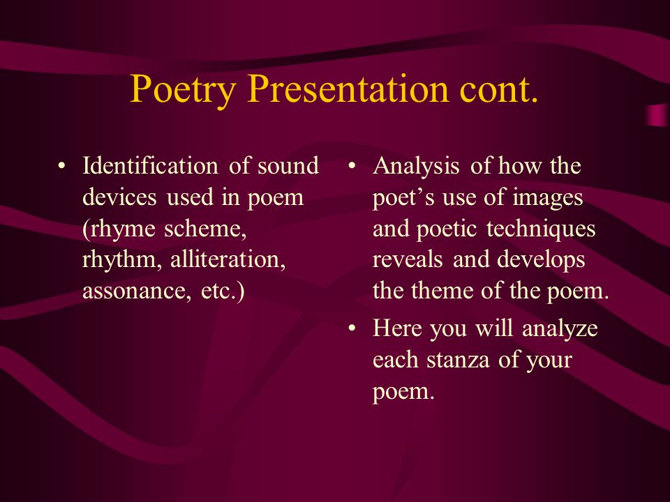 Poetry Presentation cont.Conclusion: How does the poem relate to your everyday experience or life.