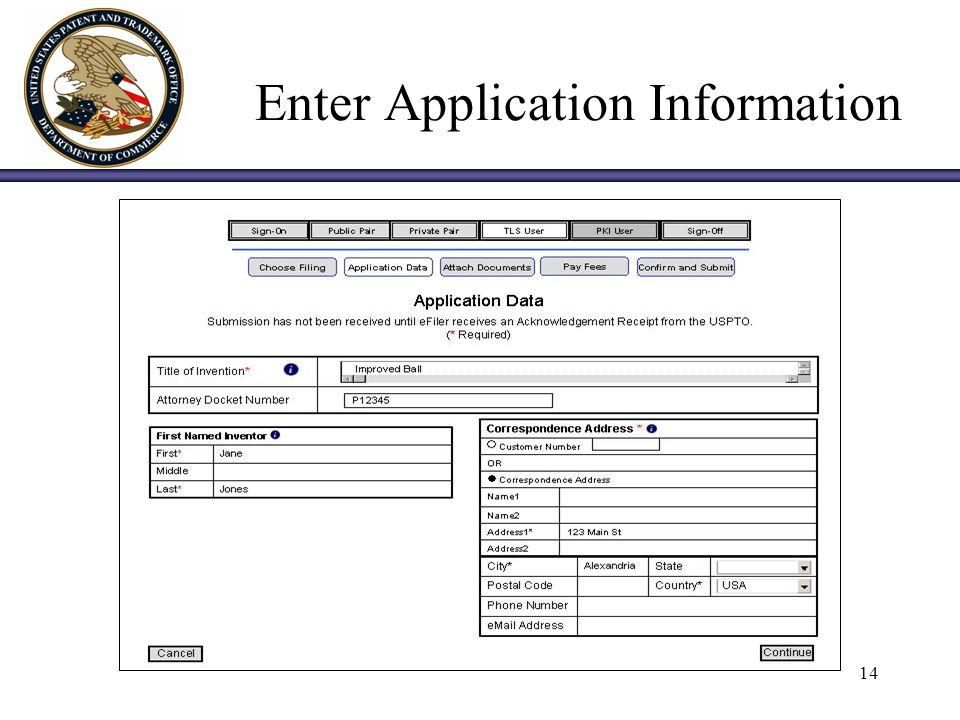 14 Enter Application Information