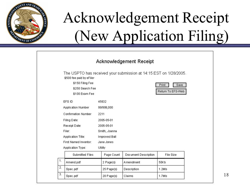 18 Acknowledgement Receipt (New Application Filing)