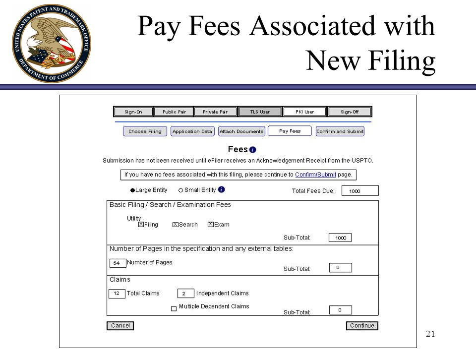 21 Pay Fees Associated with New Filing
