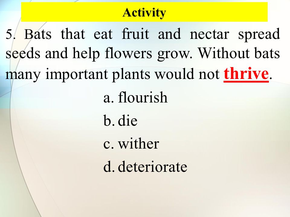 Activity thrive 5. B ats that eat fruit and nectar spread seeds and help flowers grow.