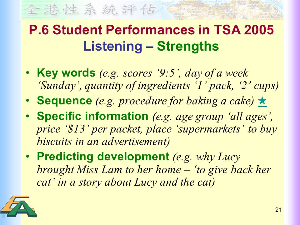 21 P.6 Student Performances in TSA 2005 Listening – Strengths Key words (e.g.