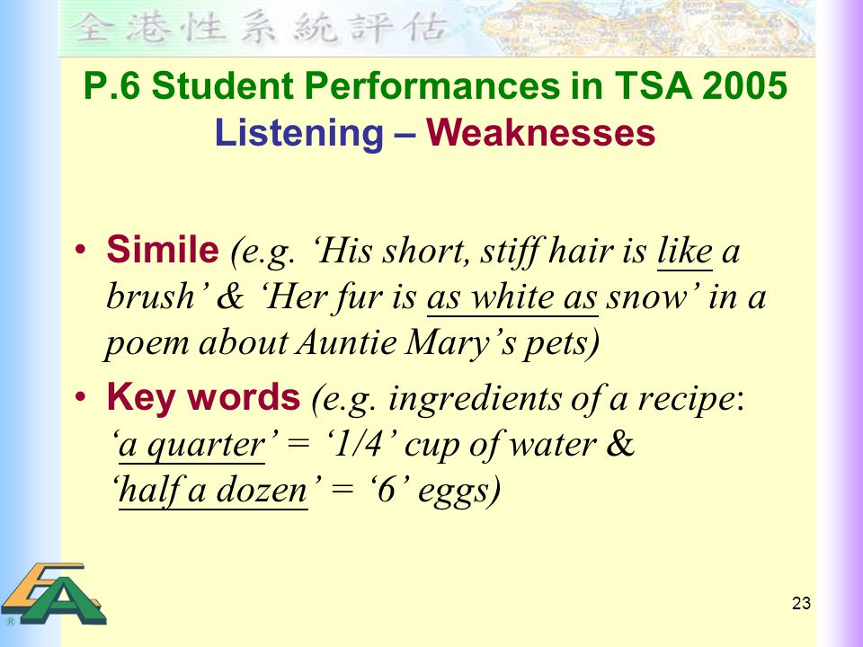 23 P.6 Student Performances in TSA 2005 Listening – Weaknesses Simile (e.g.