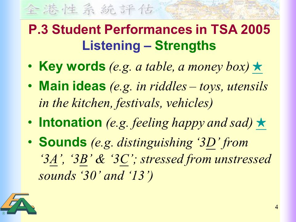 4 P.3 Student Performances in TSA 2005 Listening – Strengths Key words (e.g.