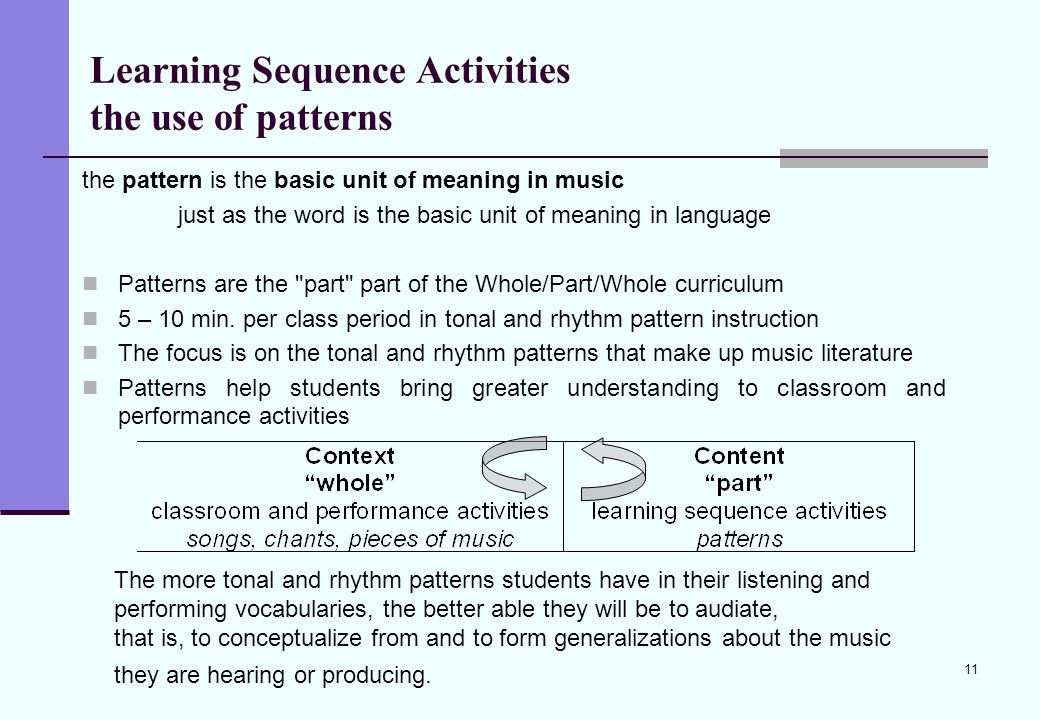 11 Learning Sequence Activities the use of patterns the pattern is the basic unit of meaning in music just as the word is the basic unit of meaning in