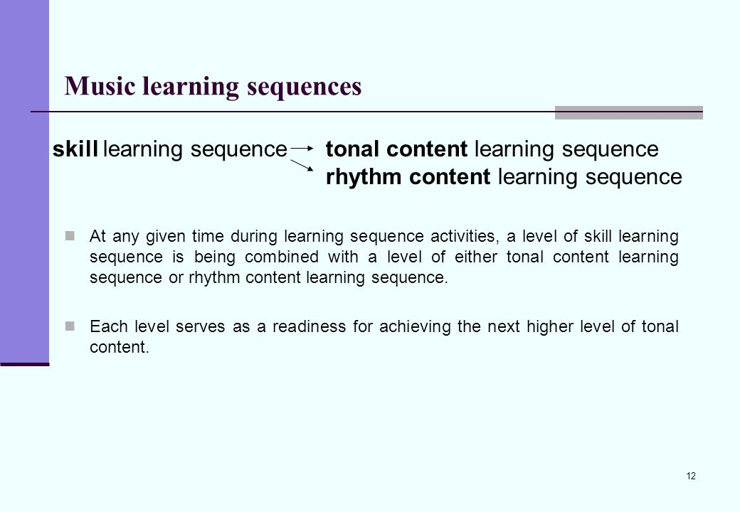 12 Music learning sequences At any given time during learning sequence activities, a level of skill learning sequence is being combined with a level o