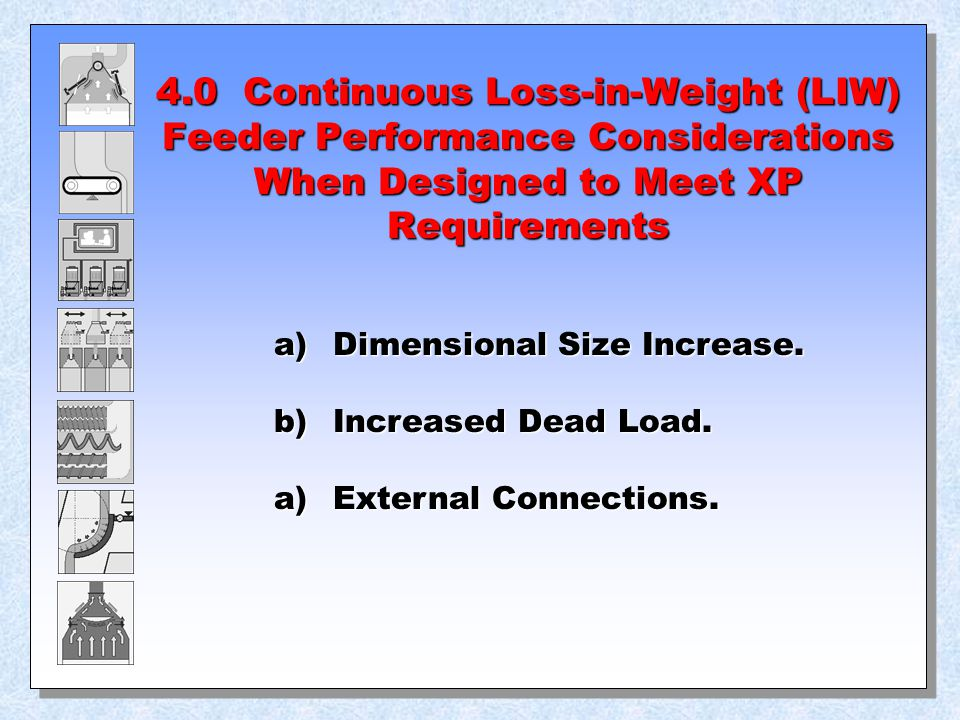 4.0 Continuous Loss-in-Weight (LIW) Feeder Performance Considerations When Designed to Meet XP Requirements a) Dimensional Size Increase. b) Increased