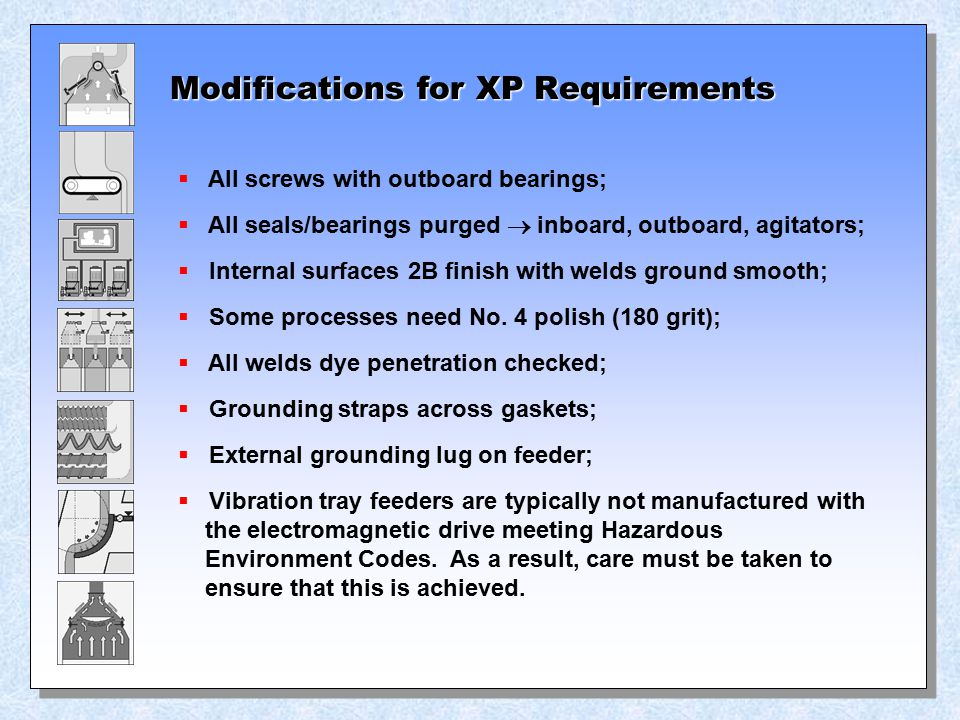 Modifications for XP Requirements  All screws with outboard bearings;  All seals/bearings purged  inboard, outboard, agitators;  Internal surfaces