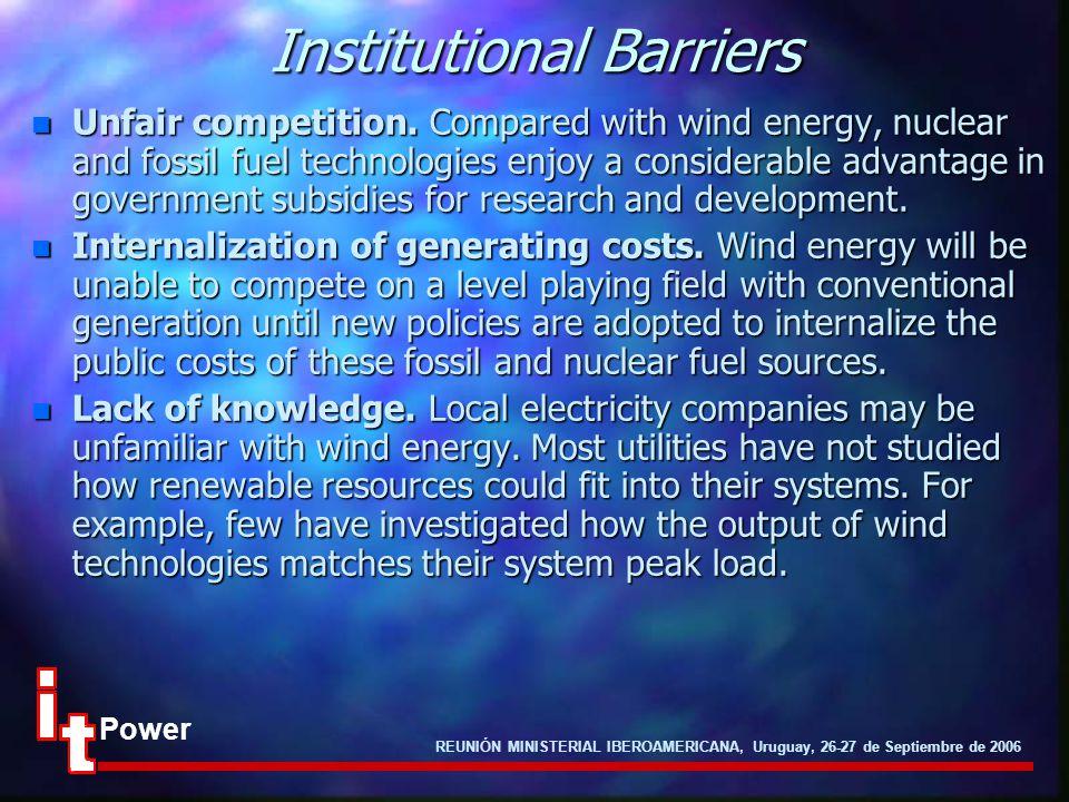 REUNIÓN MINISTERIAL IBEROAMERICANA, Uruguay, 26-27 de Septiembre de 2006 Power Institutional Barriers n Unfair competition. Compared with wind energy,