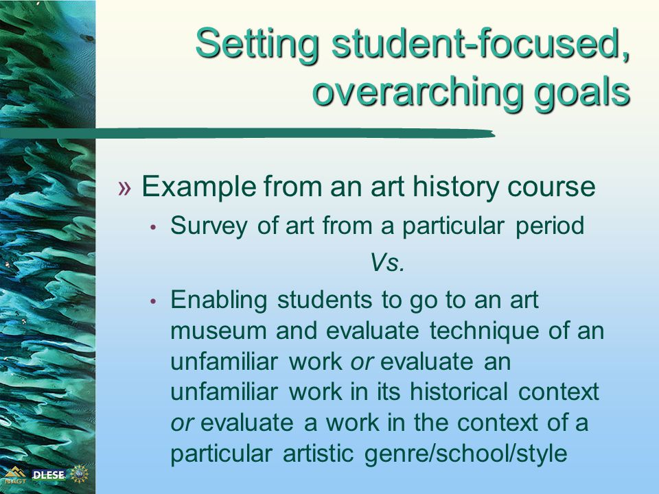 »Example from an art history course Survey of art from a particular period Vs.