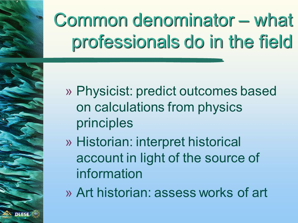 »Physicist: predict outcomes based on calculations from physics principles »Historian: interpret historical account in light of the source of information »Art historian: assess works of art Common denominator – what professionals do in the field