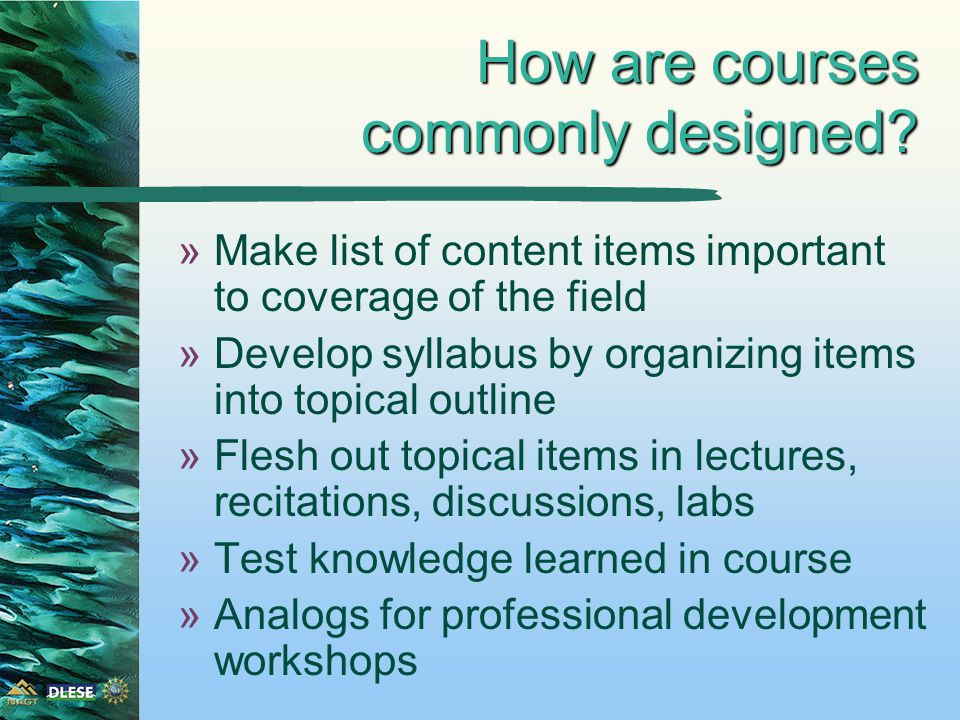 Fleshing out content topics »Higher order thinking skills goals have imbedded in them lower order thinking skills goals »Broad content topics have imbedded in them many concepts and content items that would be covered in a standard survey course