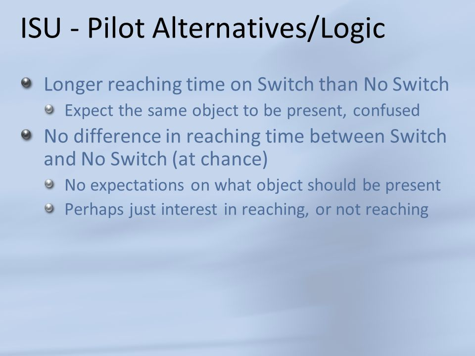 ISU - Pilot Alternatives/Logic Longer reaching time on Switch than No Switch Expect the same object to be present, confused No difference in reaching time between Switch and No Switch (at chance) No expectations on what object should be present Perhaps just interest in reaching, or not reaching