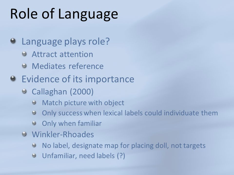 Role of Language Language plays role.