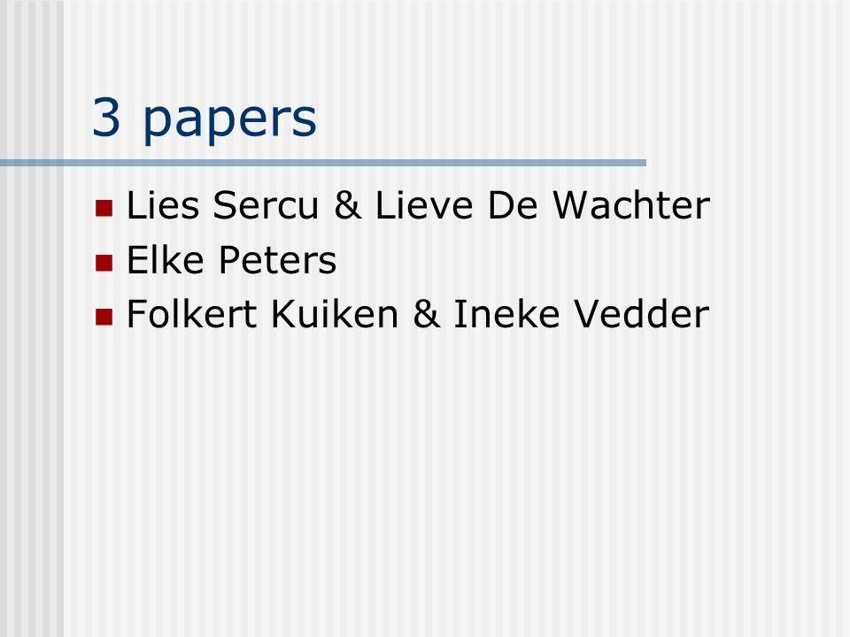 3 papers Lies Sercu & Lieve De Wachter Elke Peters Folkert Kuiken & Ineke Vedder