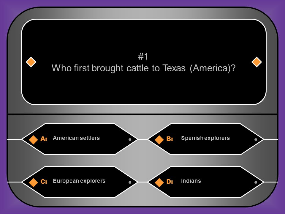 A:B: Oats Cotton #31 What did most Texas farmers grow in the late 1800's? C:D: CornWheat