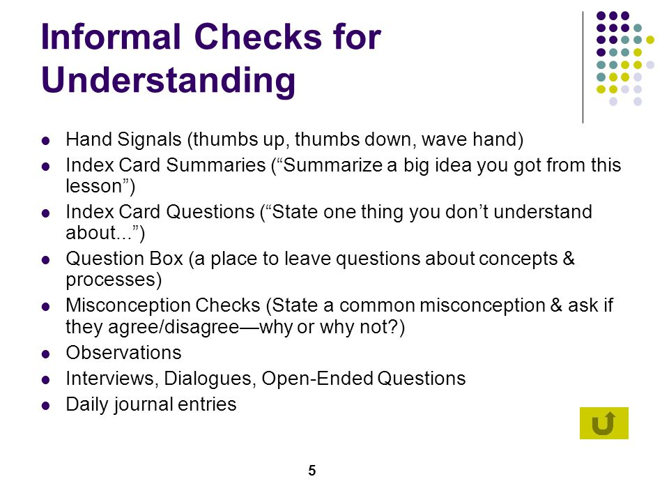 6 Traditional Assessment Multiple Choice – potentially useful for baseline measurement of content knowledge & vocabulary True-False – More useful to assess attitudes & applications of ideas versus content/vocabulary Matching – More responses that list items increases likelihood of higher level thinking Completion/Short Answers – Reduces guesswork but need careful wording to avoid ambiguous answers
