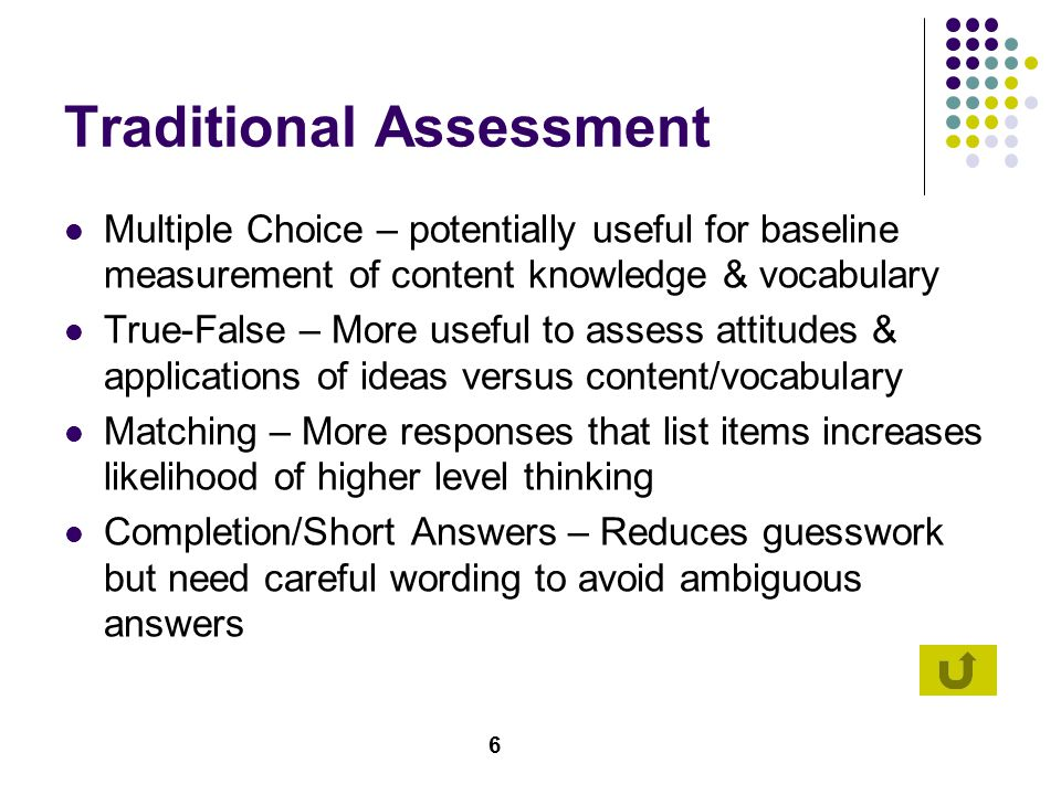 7 Essays/Prompts Useful in the assessment of problem-solving skills and complex interrelationships between concepts and processes Provides opportunities for students to develop written communication skills Shortcomings include the subjective nature of essay questions (no single right/wrong answer) and English Language learner variabilities Important to provide expectations and use some kind of grading rubric