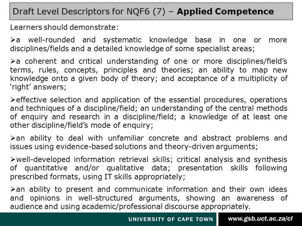 Draft Level Descriptors for NQF6 (7) – Applied Competence Learners should demonstrate:  a well-rounded and systematic knowledge base in one or more disciplines/fields and a detailed knowledge of some specialist areas;  a coherent and critical understanding of one or more disciplines/field's terms, rules, concepts, principles and theories; an ability to map new knowledge onto a given body of theory; and acceptance of a multiplicity of 'right' answers;  effective selection and application of the essential procedures, operations and techniques of a discipline/field; an understanding of the central methods of enquiry and research in a discipline/field; a knowledge of at least one other discipline/field's mode of enquiry;  an ability to deal with unfamiliar concrete and abstract problems and issues using evidence-based solutions and theory-driven arguments;  well-developed information retrieval skills; critical analysis and synthesis of quantitative and/or qualitative data; presentation skills following prescribed formats, using IT skills appropriately;  an ability to present and communicate information and their own ideas and opinions in well-structured arguments, showing an awareness of audience and using academic/professional discourse appropriately.