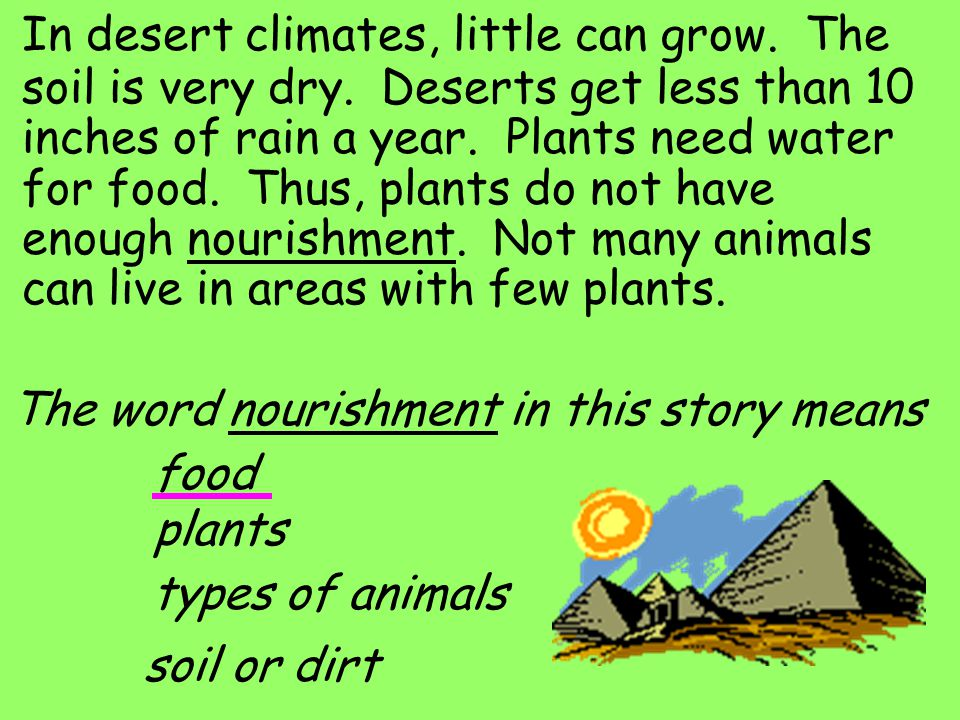 In desert climates, little can grow.The soil is very dry.