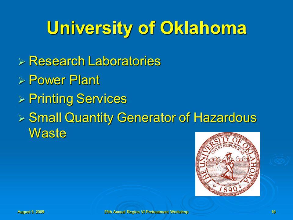 August 5, 200925th Annual Region VI Pretreatment Workshop10 University of Oklahoma  Research Laboratories  Power Plant  Printing Services  Small Quantity Generator of Hazardous Waste