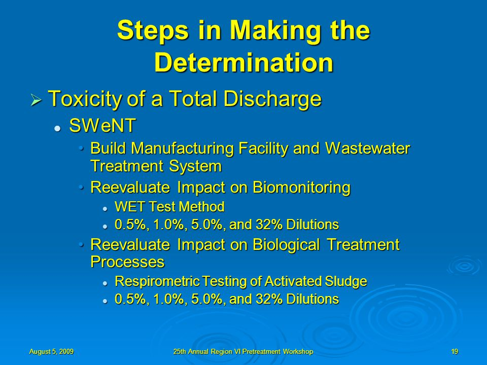 August 5, 200925th Annual Region VI Pretreatment Workshop19 Steps in Making the Determination  Toxicity of a Total Discharge SWeNT SWeNT Build Manufacturing Facility and Wastewater Treatment SystemBuild Manufacturing Facility and Wastewater Treatment System Reevaluate Impact on BiomonitoringReevaluate Impact on Biomonitoring WET Test Method WET Test Method 0.5%, 1.0%, 5.0%, and 32% Dilutions 0.5%, 1.0%, 5.0%, and 32% Dilutions Reevaluate Impact on Biological Treatment ProcessesReevaluate Impact on Biological Treatment Processes Respirometric Testing of Activated Sludge Respirometric Testing of Activated Sludge 0.5%, 1.0%, 5.0%, and 32% Dilutions 0.5%, 1.0%, 5.0%, and 32% Dilutions