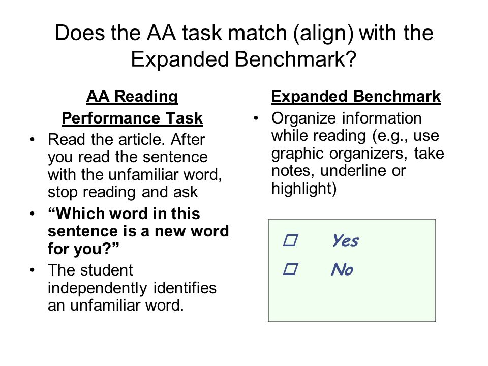 Does the AA task match (align) with the Expanded Benchmark.