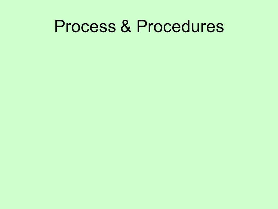 Process & Procedures
