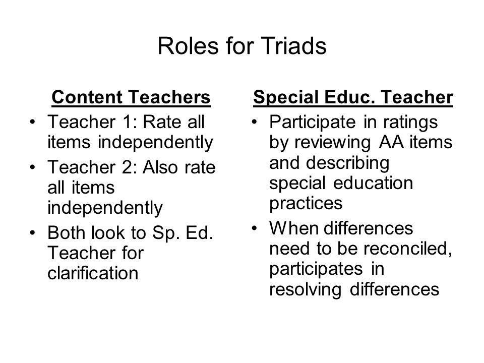 Roles for Triads Content Teachers Teacher 1: Rate all items independently Teacher 2: Also rate all items independently Both look to Sp.