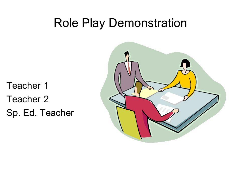 Role Play Demonstration Teacher 1 Teacher 2 Sp. Ed. Teacher