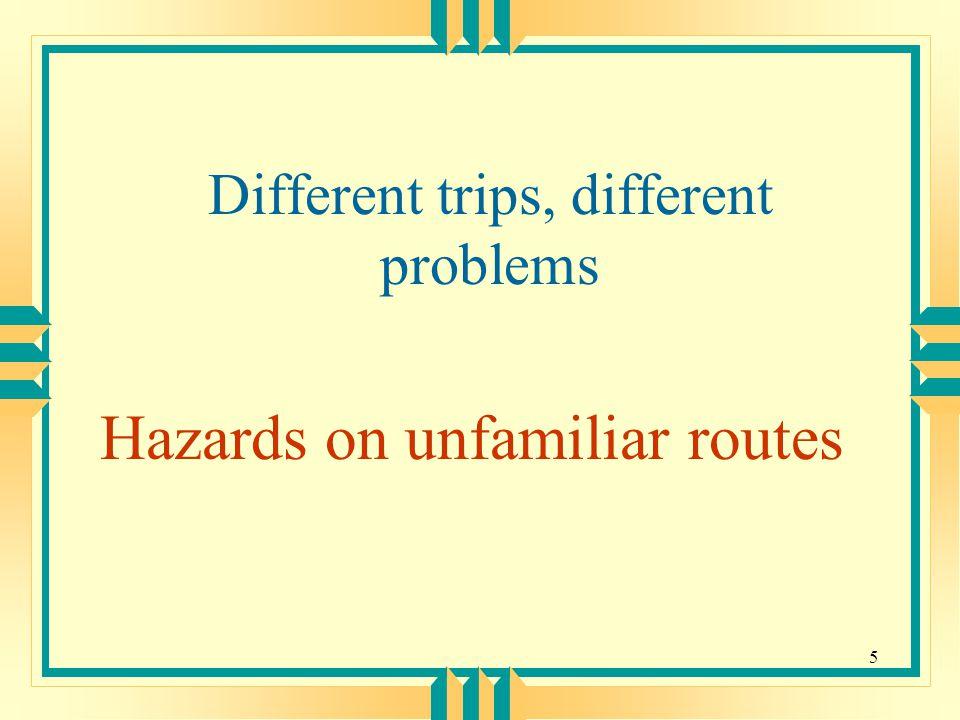 6 Potential Hazards to Consider u One-way streets u Tolls u Low clearance u Parking area u Food and restroom availability u Fueling u Weight limit on bridges