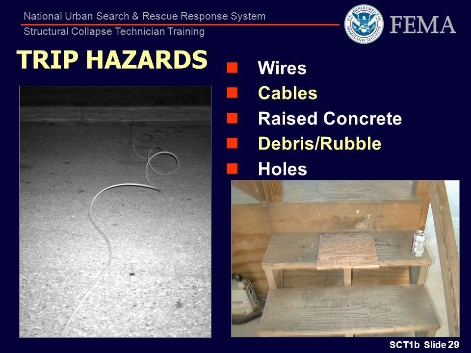 SCT1b Slide 29 National Urban Search & Rescue Response System Structural Collapse Technician Training TRIP HAZARDS Wires Cables Raised Concrete Debris/Rubble Holes