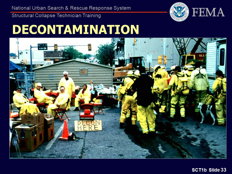 SCT1b Slide 33 National Urban Search & Rescue Response System Structural Collapse Technician Training DECONTAMINATION