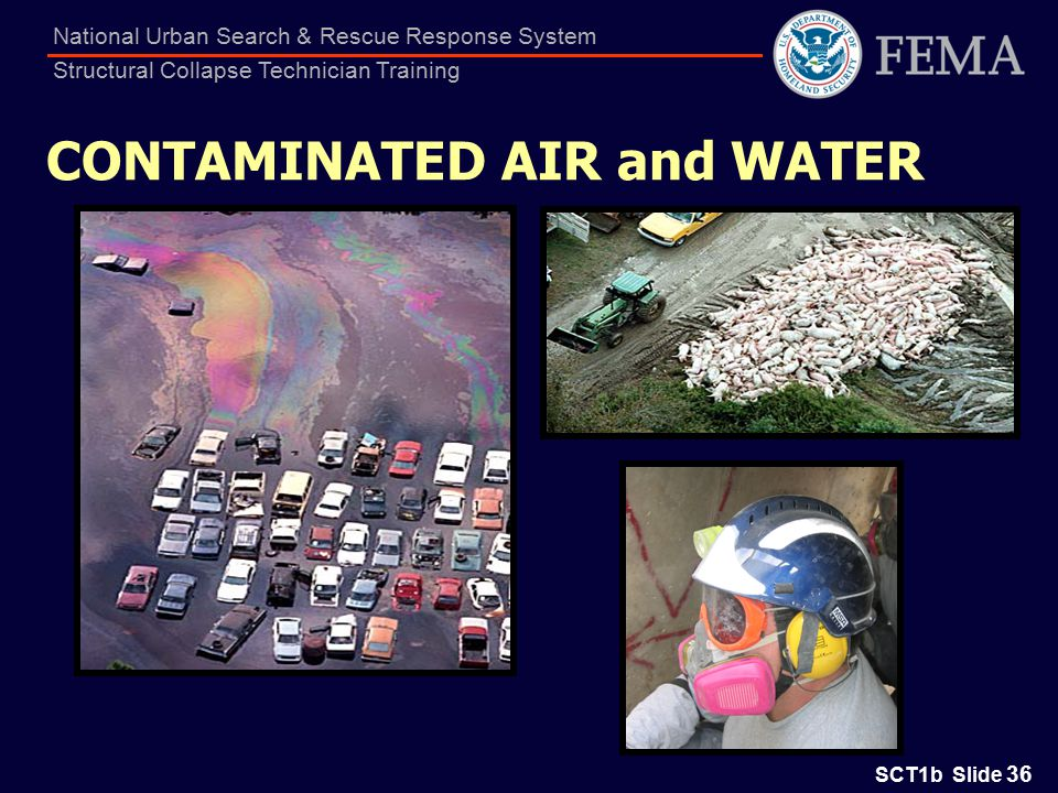 SCT1b Slide 36 National Urban Search & Rescue Response System Structural Collapse Technician Training CONTAMINATED AIR and WATER