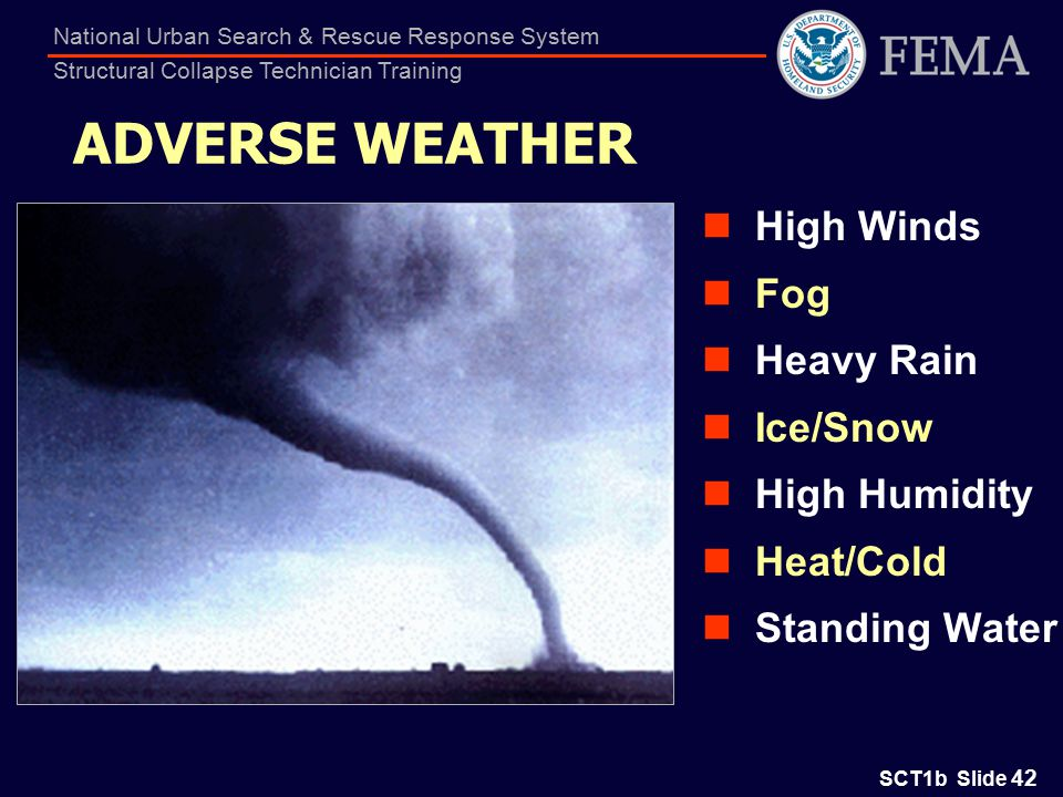 SCT1b Slide 42 National Urban Search & Rescue Response System Structural Collapse Technician Training ADVERSE WEATHER High Winds Fog Heavy Rain Ice/Snow High Humidity Heat/Cold Standing Water